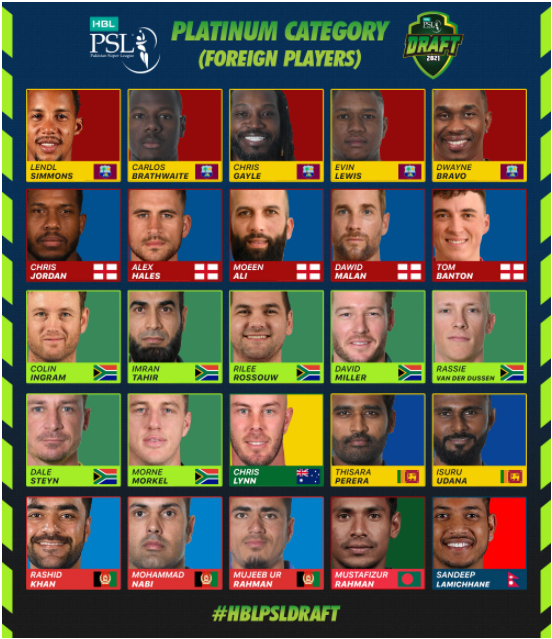 PSL 2021: Platinum Players roster announced