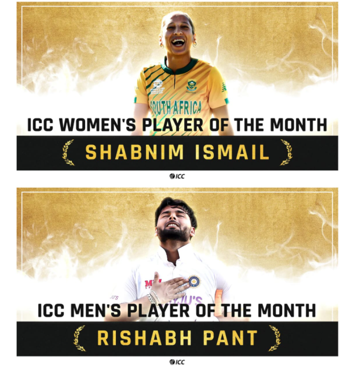 ICC Player of the Month: Pant and Ismail take home the January award