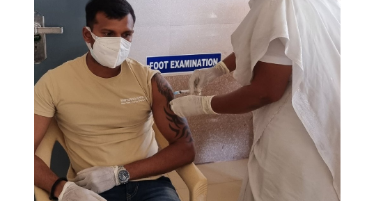 T Natarajan receives his first dose of Covid-19 vaccine