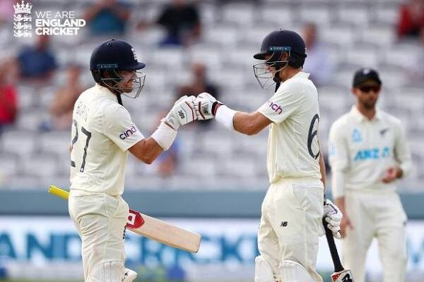 ENG v NZ 1st test Root and Burns show resilience after two wickets loss on Day 2