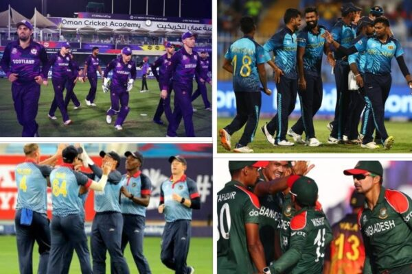 Which Round 1 teams have qualified for the Super 12 stage of the T20 World Cup 2021?